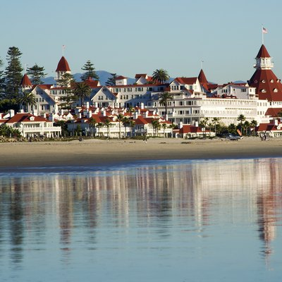 Coronado del Hotel from the beach Dec 23, 2011. San Diego California, late afternoon.
