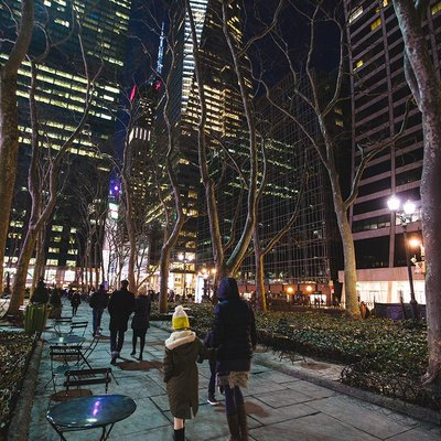 Winter night at Bryant Park