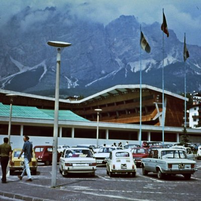 The olympic ice pavilion in Cortina d'Ampezzo in summer 1971