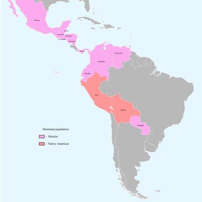 Countries with dominant Mestizo and Native American population - Based on this blank map of Latin America and data from CIA – The World Factbook – Ethnic groups and countrystudies.us - Venezuela.