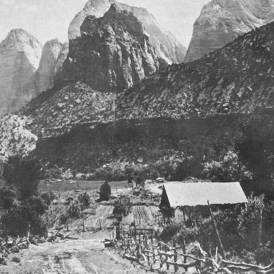 Crawford Ranch in Zion Canyon, now gray-scale, noise reduced and improved contrast