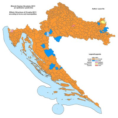 Ethnic map of Croatia, 2011, according to municipalities.
