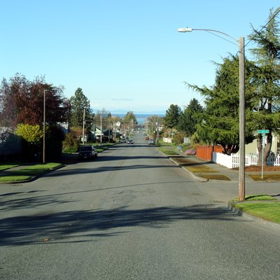 Crossroads in Port Angeles (E 11th St and S Peabody St), Strait of Juan de Fuca and Vancouver Island in the background.