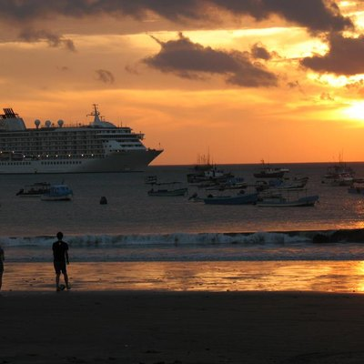 A Royal Caribbean Cruise ship docked near the beach at San Juan del Sur in Southern Nicaragua.