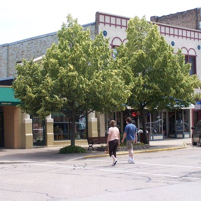 Woodstock and Williams streets. Downtown business district of Crystal Lake, Illinois.