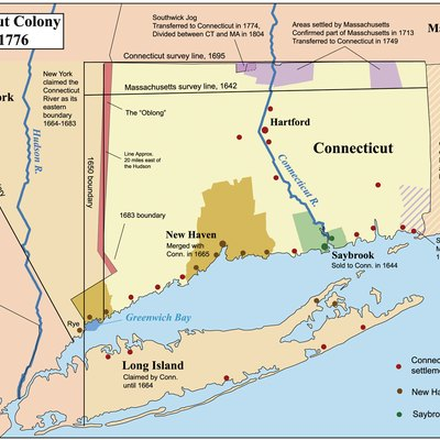 This is a map showing the Connecticut, New Haven, and Saybrook colonies from 1636-1776. It includes the territorial disputes between Connecticut and its neighbors during that time period. It does not show Connecticut's western land claims and dispute with Pennsylvania. Based primarily on descriptions from The Boundary Disputes of Connecticut by Clarence Winthrop Bowen. James R. Osgood and Company, Boston, 1882.