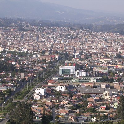View of Cuenca (Ecuador) from the hill and village of Turi.