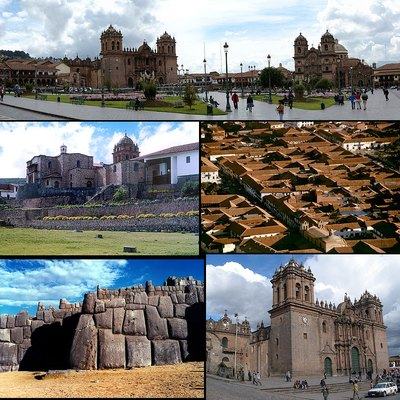Montage of landmarks in Cusco