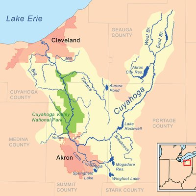 Map of the Cuyahoga River drainage basin.