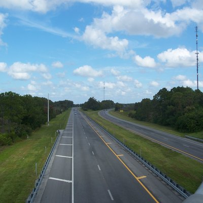 Florida'S Turnpike: Looking West From The Overpass On Canoe Creek Road Near Cypress Lake.