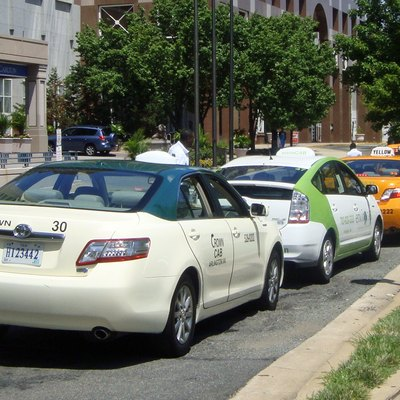 Hybrid taxis from several taxi cab companies in Pentagon City, Arlington, Virginia