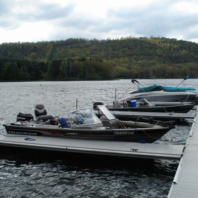 Boats docked on Deep Creek Lake, Maryland in May 2008.