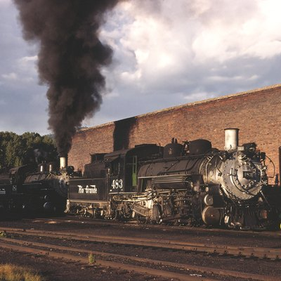After arriving in Chama from Alamosa, D&RGW #484 and #483 rest outside the Chama engine house ready to be serviced.