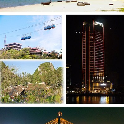 My Khe Beach. Ba Na Cable Car. Marble Mountains· Novotel Danang Han River Bridge