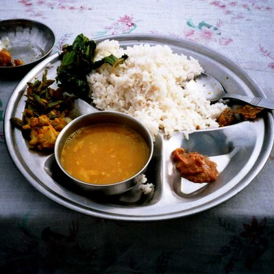 One of the typical Nepali meal Dal bhat in Kathmandu