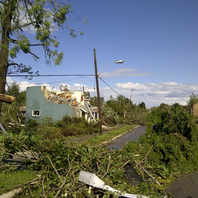 A road in Goderich, Ontario, Canada after a tornado. Taken on 21 August 2011.