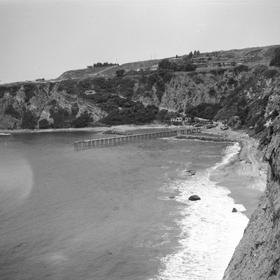The headlands and the pier at Dana Point, California, circa 1925, prior to the construction of the harbor.