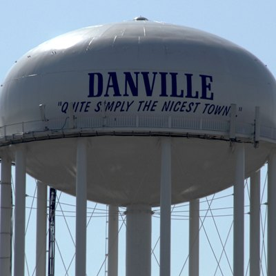 Danville, Kentucky Water Tower Viewed From The North. Features The Motto