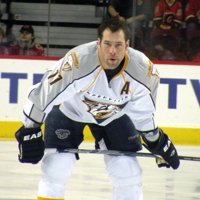 Nashville Predators forward David Legwand prior to a National Hockey League game against the Calgary Flames.