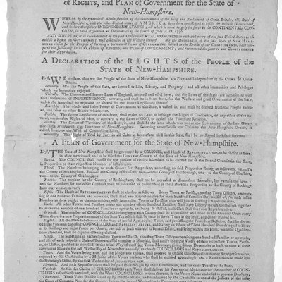 A Declaration of Rights and Plan of Government for the State of New-Hampshire. Broadsheet printed at Exeter, New Hampshire, by Zechariah Fowle in 1779 carrying statement by John Langdon, president of the state convention, 5 June 1779.[1] The Library of Congress, Washington, D. C.