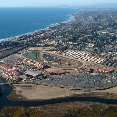 Del Mar, California. The Horse Race Track And Fairgrounds. Pacific Ocean.