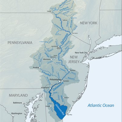 Map of the Delaware River basin, showing tributaries, lakes and major cities