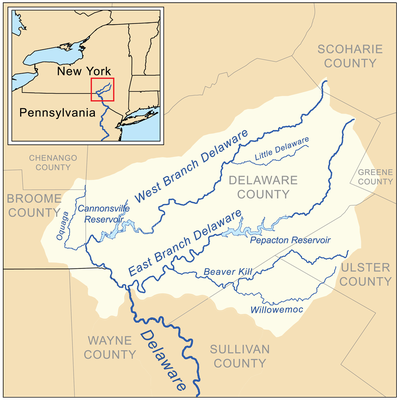 The headwaters of the Delaware River including the river's East and West Branches and other tributaries