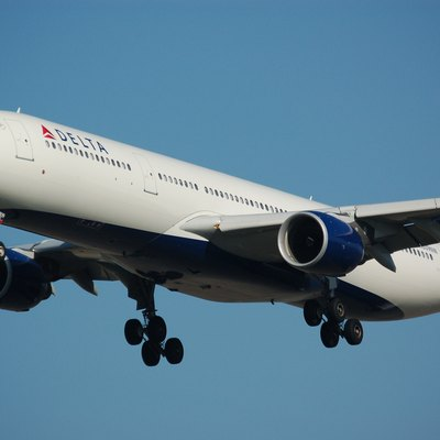 A Delta Airlines Airbus A330-323E landing on runway 18C at Schiphol