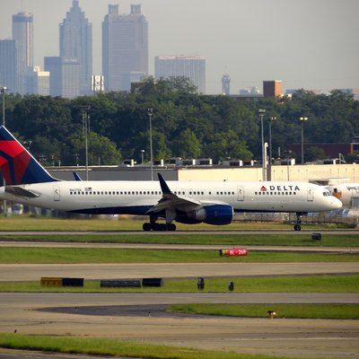 Delta Air Lines Boeing 757-200 at Hartsfield-Jackson Atlanta International Airport with the skyline in background