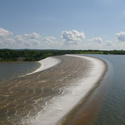 Picture of the spillway at Lake Texoma's Denison Dam spillway, July 14, 2007.