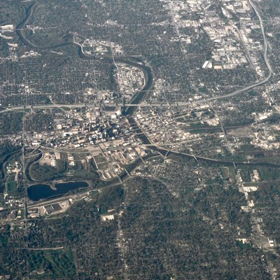 Aerial view of Des Moines, Iowa, USA.