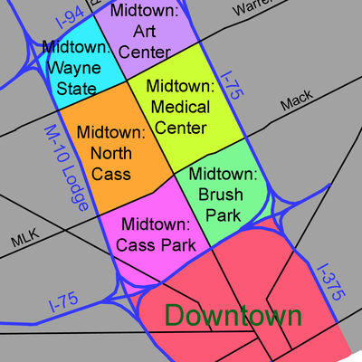 Downtown and Midtown areas, Detroit Michigan