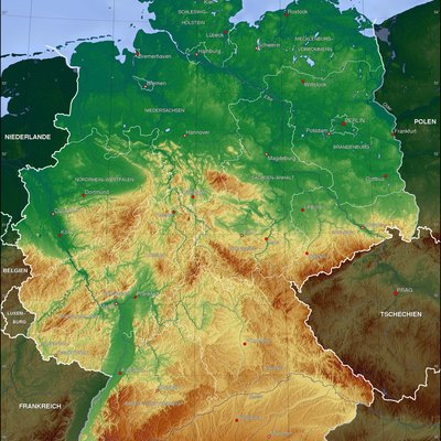 Topographic map of Germany (Borders of the States of Germany approximately as of 1990)