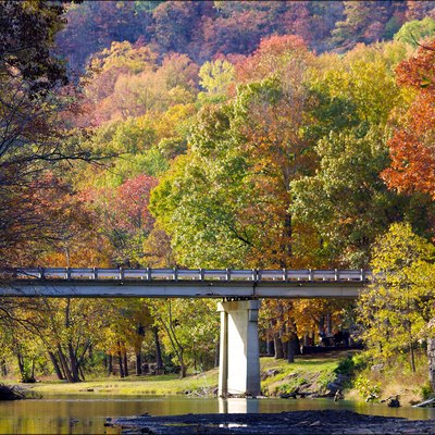 Lee Creek Bridge At Devil's Den State Park: The Autumn colors surround the Lee Creek Bridge at Devil's Den State Park near Winslow, AR. (from flickr)