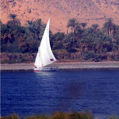 Dhows traversing the Nile near Aswan