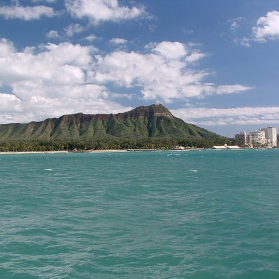 Diamond Head: Diamond Head from the deck of the Mai Tai catamaran.