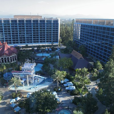 A 2013 photo of the Disneyland Hotel taken from the 12th floor of one of the frontier tower.