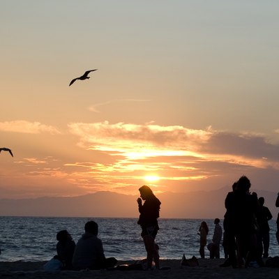 Dockweiler Beach at Sunset - Dockweiler State Beach park in Los Angeles County, CA, USA.
