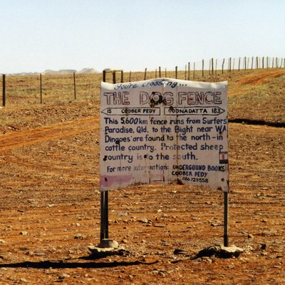 A portion of the Australian dog fence near Coober Pedy.