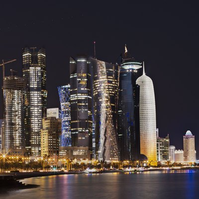 Skyline of Doha, near the Corniche area, taken at night.