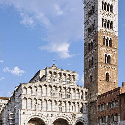 The Cathedral of St Martin (Duomo di Lucca) and its campanile in Lucca, Tuscany, Italy.