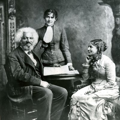 Frederick Douglass with his second wife Helen Pitts and her sister Eva.