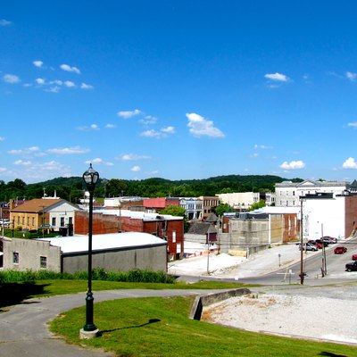 The business district of Sparta, Tennessee, United States, viewed from the Sparta Cemetery.