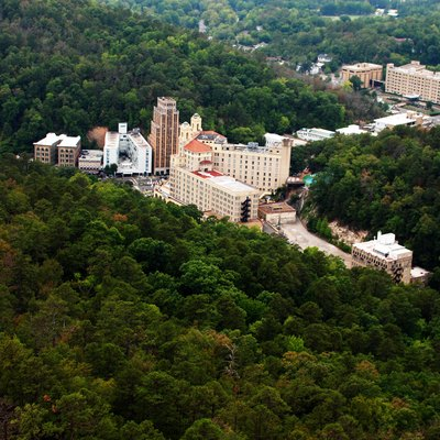 Aerial view of downtown Hot Springs, Arkansas.