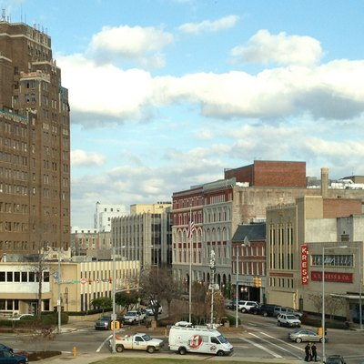 A vista of downtown Meridian, Mississippi from the third floor of Meridian City Hall. Pictured buildings include the Threefoot, Riley Center, Kress Building, and Doughboy Monument.