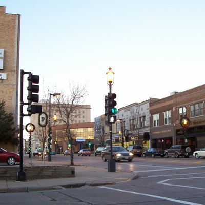 Looking northerly at downtown Oshkosh, Wisconsin, USA at Main Street which is U.S. Highway 45. Cropped from the original.