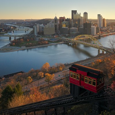 This is a classic composition viewed from the observation deck on at the top station of the Duquesne Incline in Pittsburgh. The Duquesne Incline is one of two surviving inclines in Pittsburgh, the other being the Monogahela Incline.