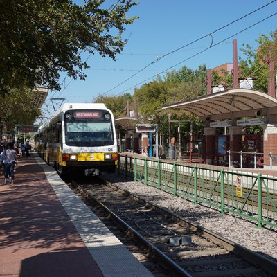 A DART Light Rail Red Line train at Downtown Plano Station in Plano, Texas (United States).
