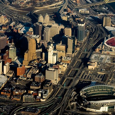 Aerial photo of downtown Cincinnati taken on a return flight from Houston, Texas
