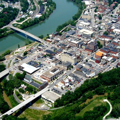 Aerial photo of downtown Morgantown, West Virginia